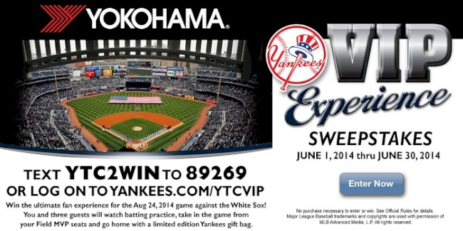 Yokohama Tire Corporation's 'VIP Experience' Promotion Gives Fans a Chance to  Slide into New York for a Yankees Game