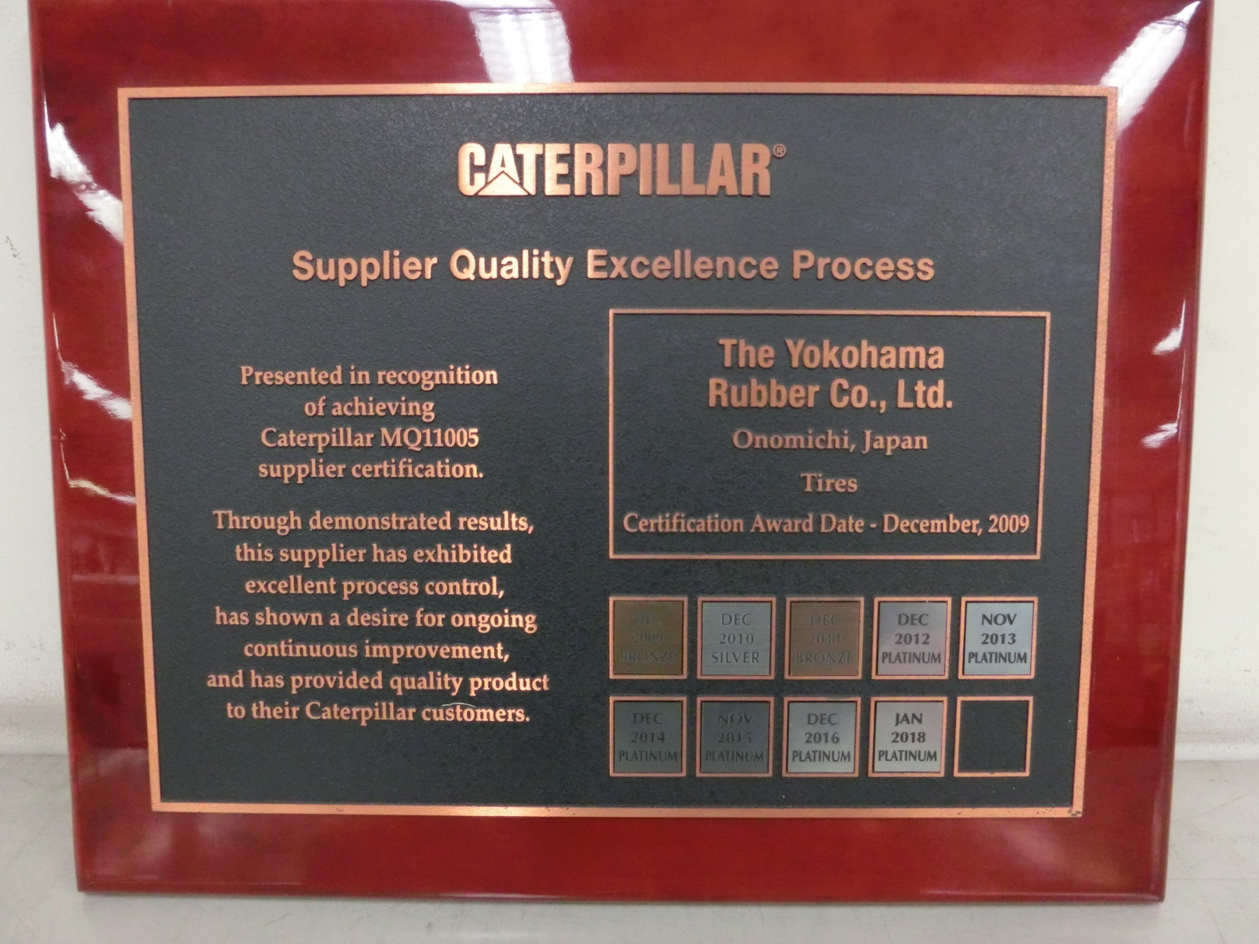 Yokohama Earns Platinum Supplier Award from Caterpillar for the Sixth Consecutive Year